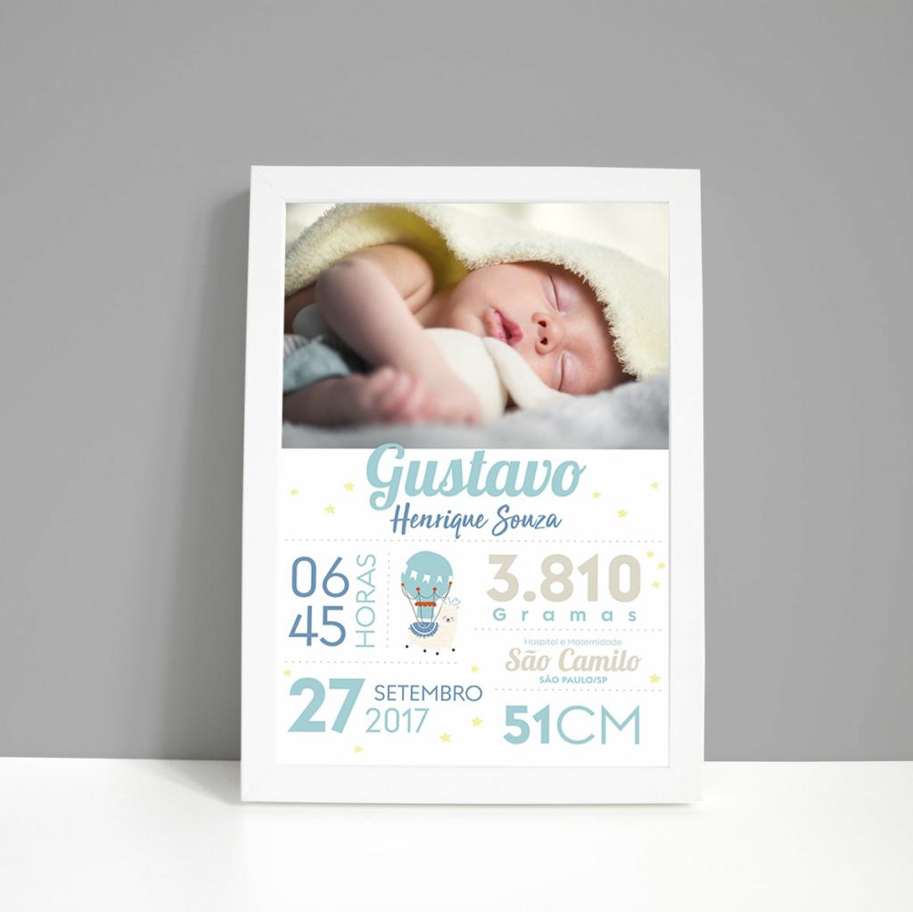 Quadro chalckboard nascimento com foto meninosnascimento-A3-menino