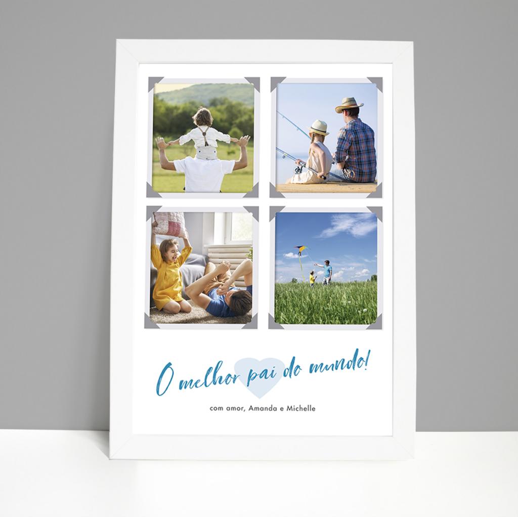 Quadro Dia dos Pais – 4 fotos – moldura branca