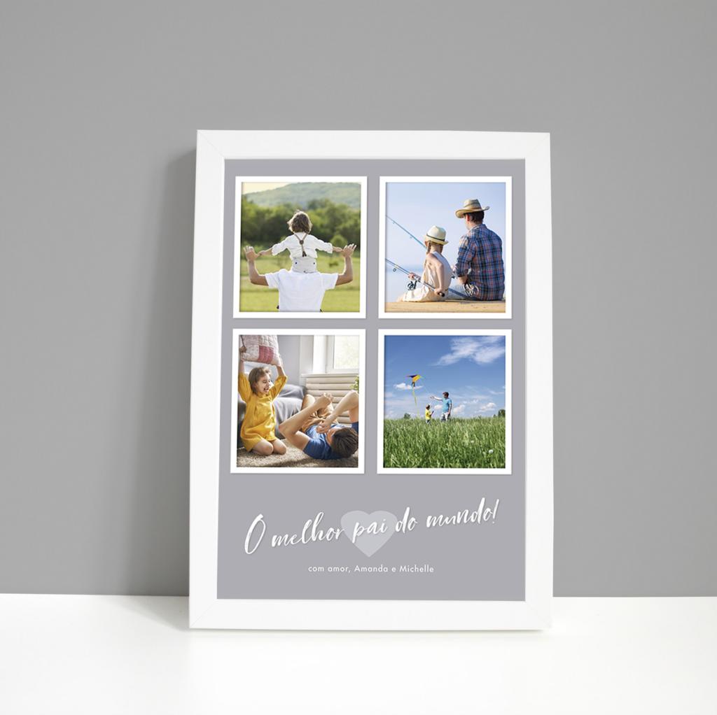 Quadro Dia dos Pais – 4 fotos – moldura branca – fundo cinza