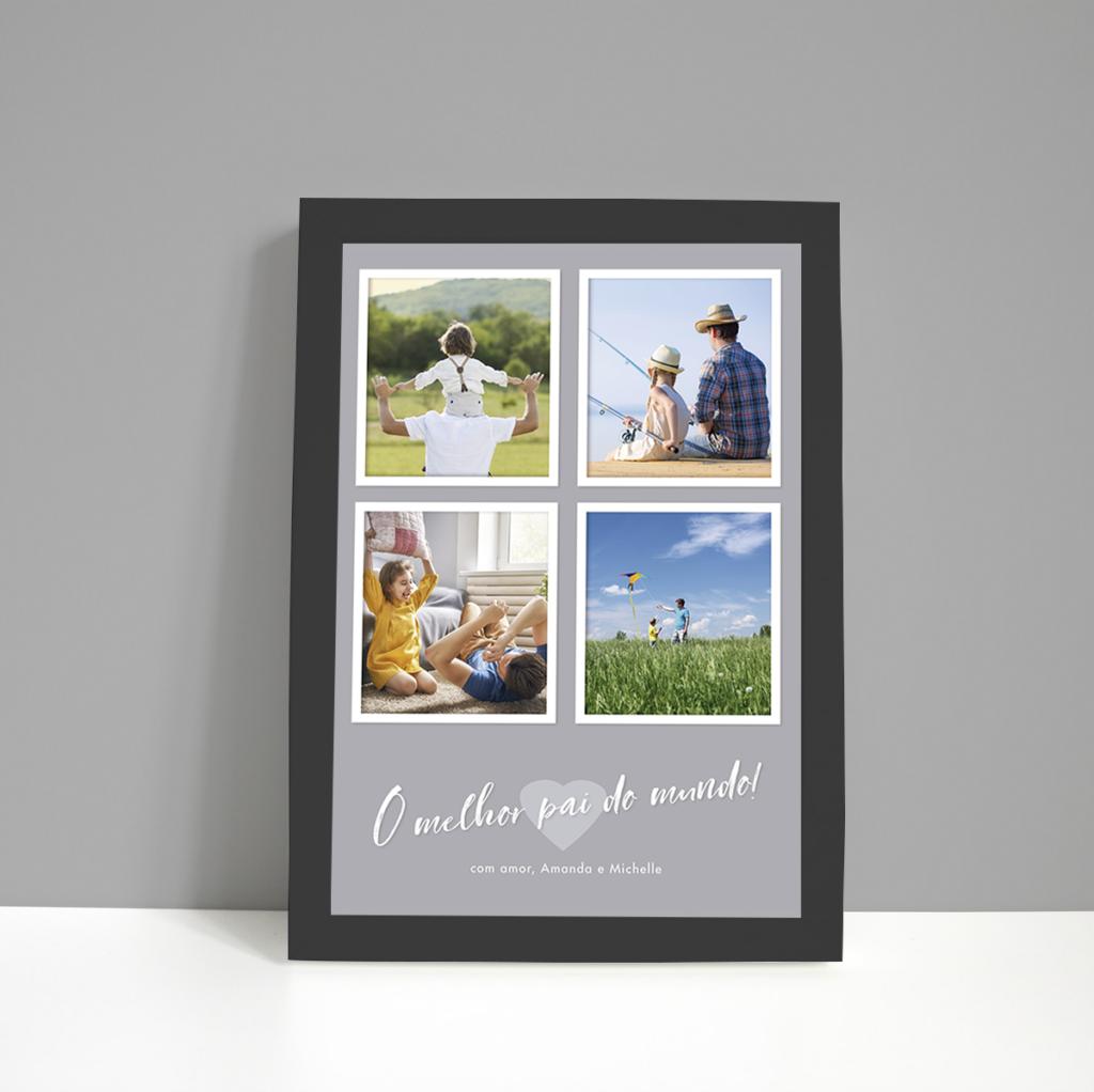 Quadro Dia dos Pais – 4 fotos – moldura preta – fundo cinza