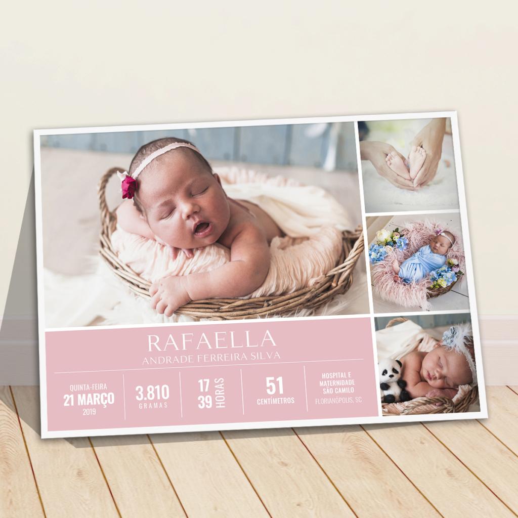 Quadro dados do bebe com 4 fotos meninas