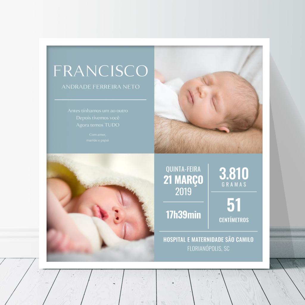 Quadro meu nascimento com 2 fotos. Presente para bebê