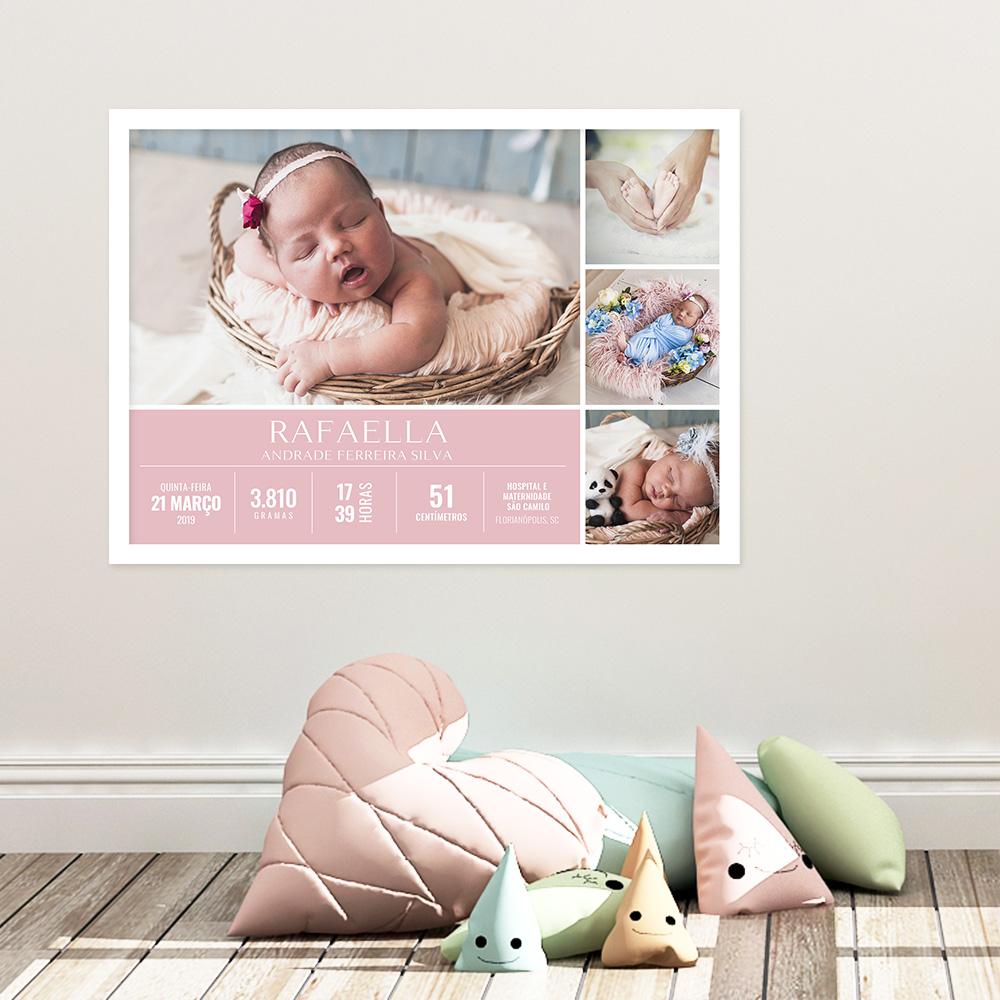 Presente para bebê - quadro nascimento personalizado com 4 fotos e dados