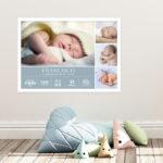 Quadro de nacimento com 4 fotos meninos – fotono quarto