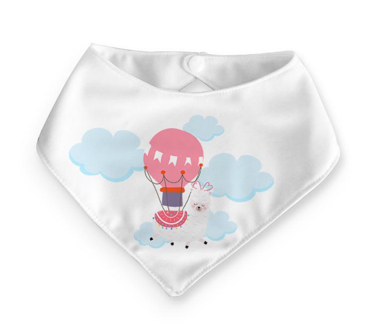 Babador bandana bebê – Lhama no balão
