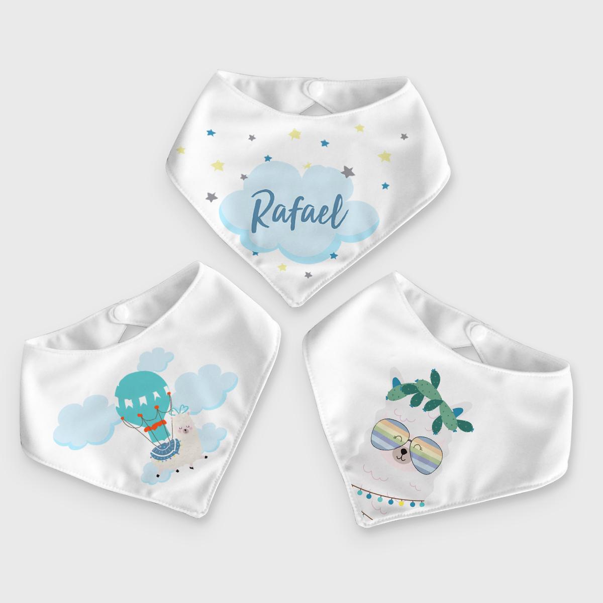 Presente para bebê menino - kit com 3 babadores bandana Lhama