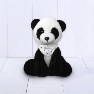 Presente criativo para recém-nascido menino - panda com bandana personalizada
