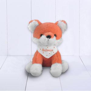 Presente para bebê menino - raposa de pelúcia com bandana personalizada