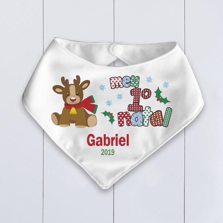 babador bebê bandana Natal Rena