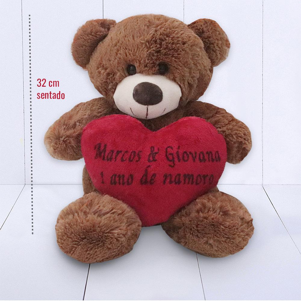 Presente Dia dos Namorados - ursinho mrrom perosnalizado com mensagem