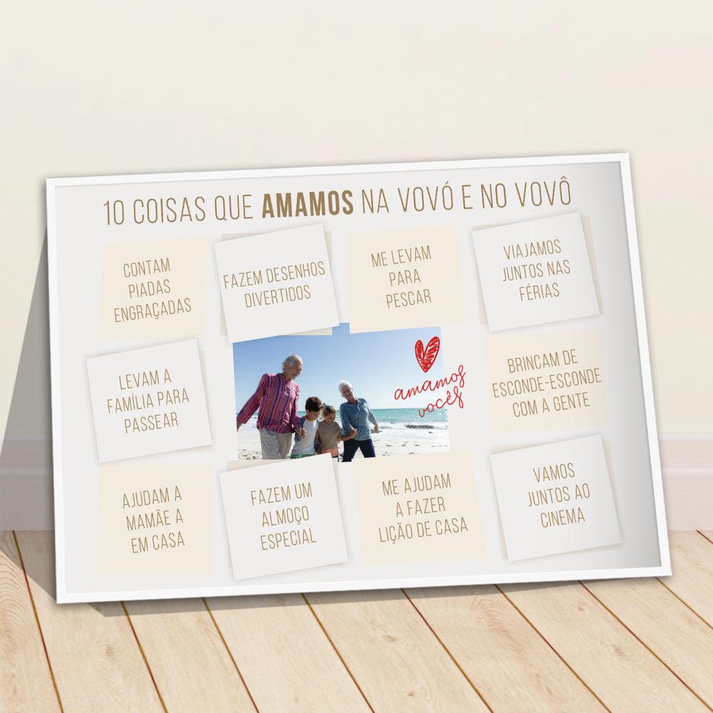Presente para vó ou vô - quadro personalizado com foto e frases