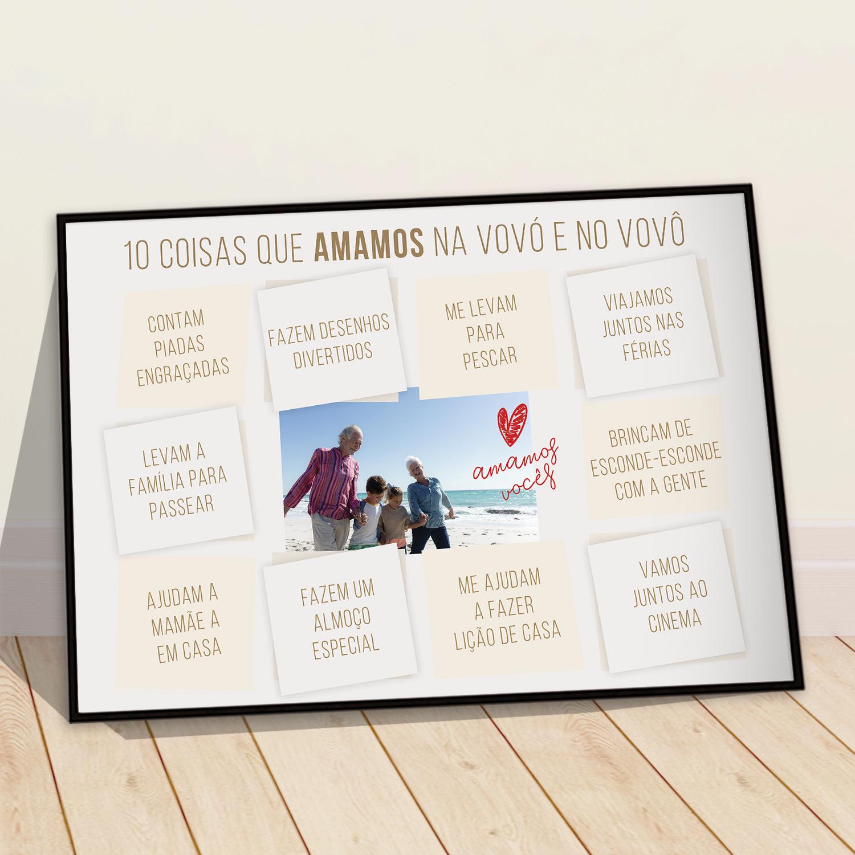 Presente criativo para Dia dos avós - quadro com foto e frases