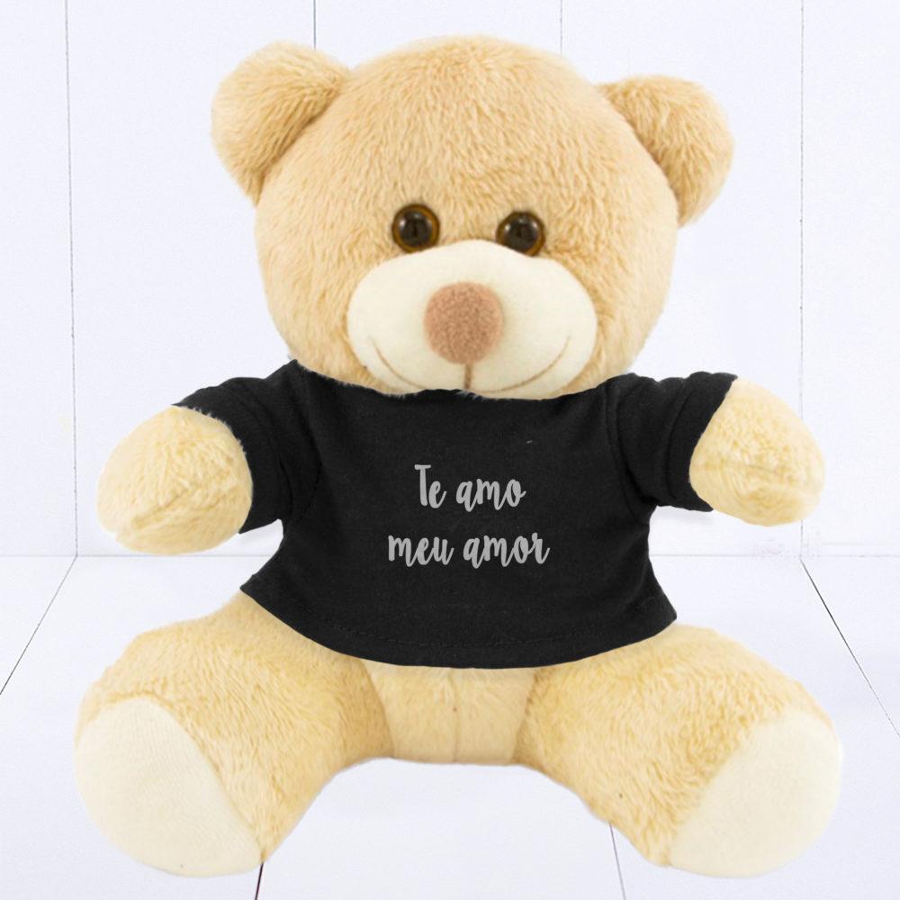 Presente criativo para homem - pelúcia com camiseta preta personalizada